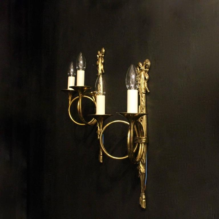 French Pair of Twin Arm Wall Lights at 1stdibs