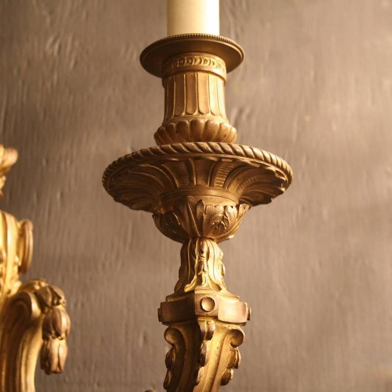 French Pair of Bronze Antique Wall Lights at 1stdibs
