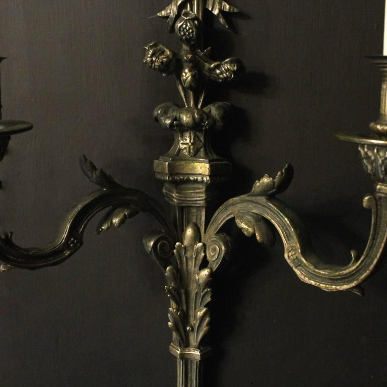 French Pair of Bronze Antique Wall Sconces at 1stdibs
