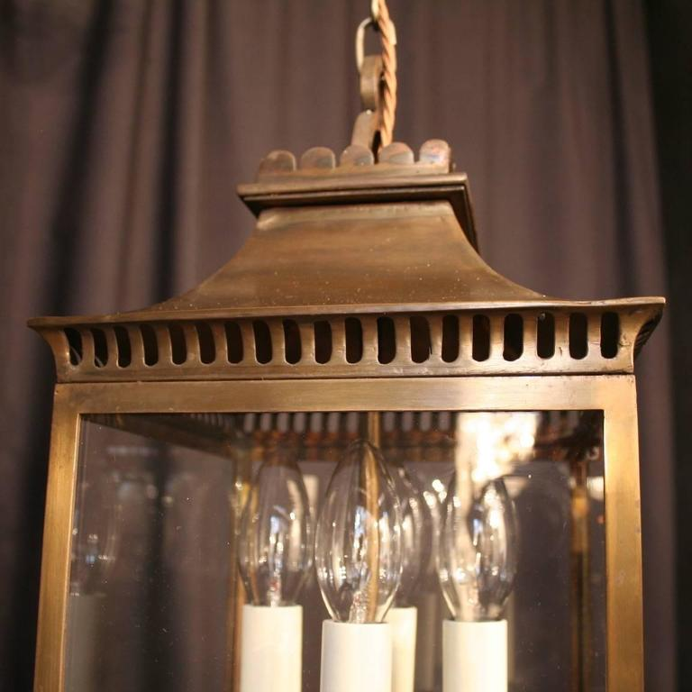 French Bronze Four-Light Antique Hall Lantern In Excellent Condition For Sale In Chester, GB