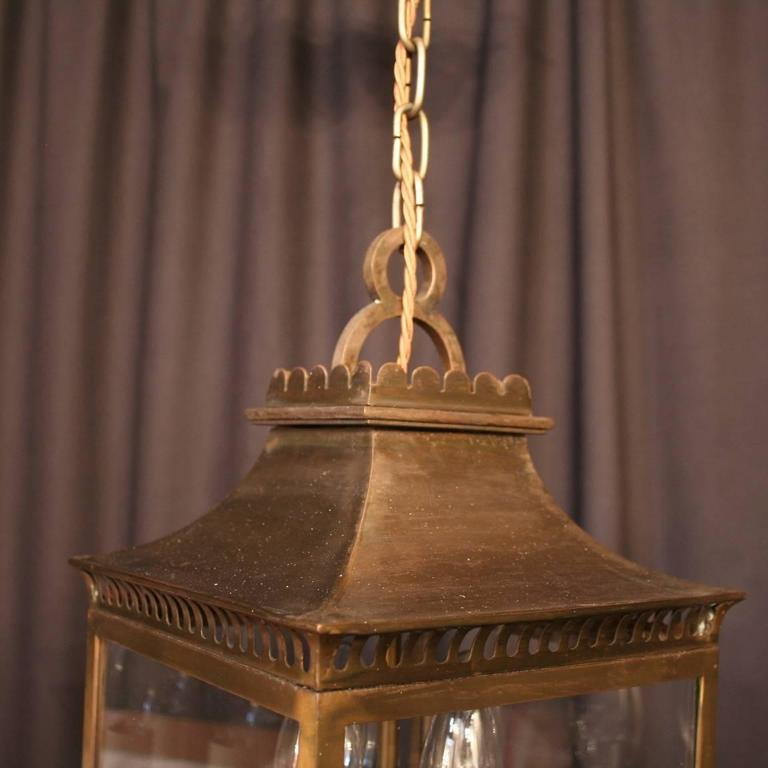 20th Century French Bronze Four-Light Antique Hall Lantern For Sale