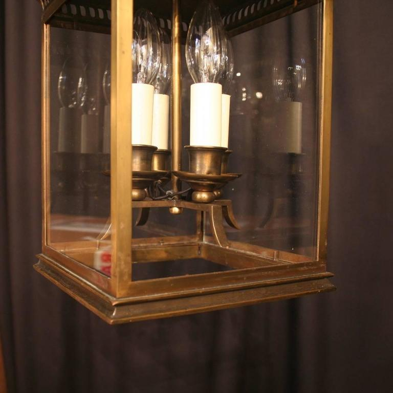 French Bronze Four-Light Antique Hall Lantern For Sale 1