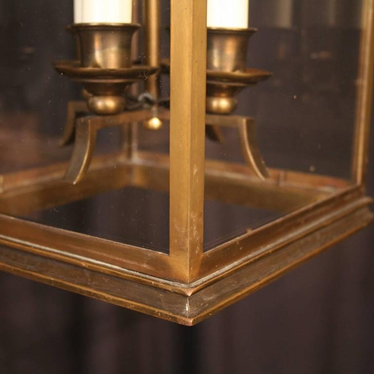 French Bronze Four-Light Antique Hall Lantern For Sale 3