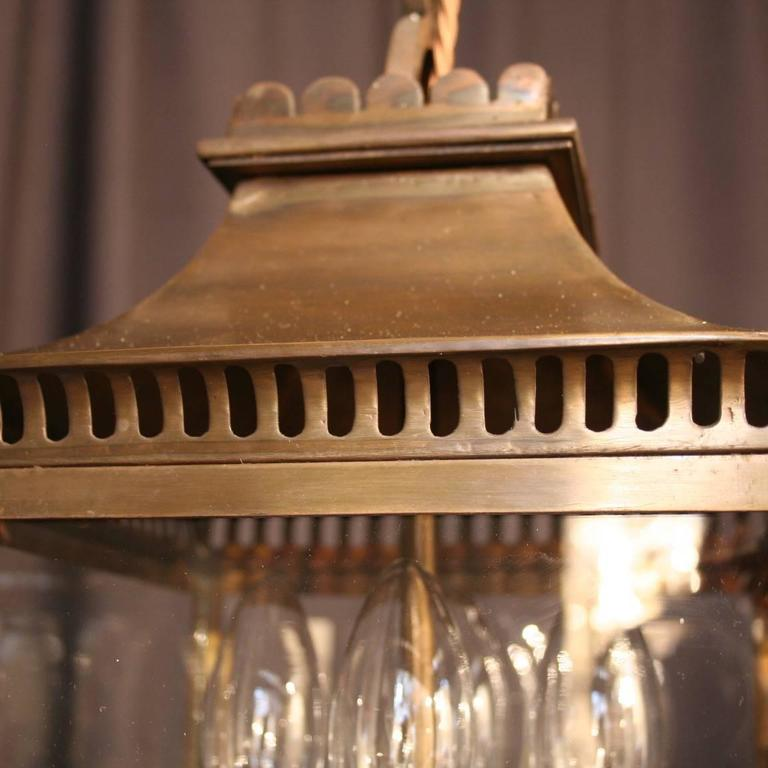French Bronze Four-Light Antique Hall Lantern For Sale 4