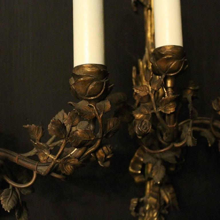 English Pair of Bronze Antique Wall Sconces For Sale at 1stdibs