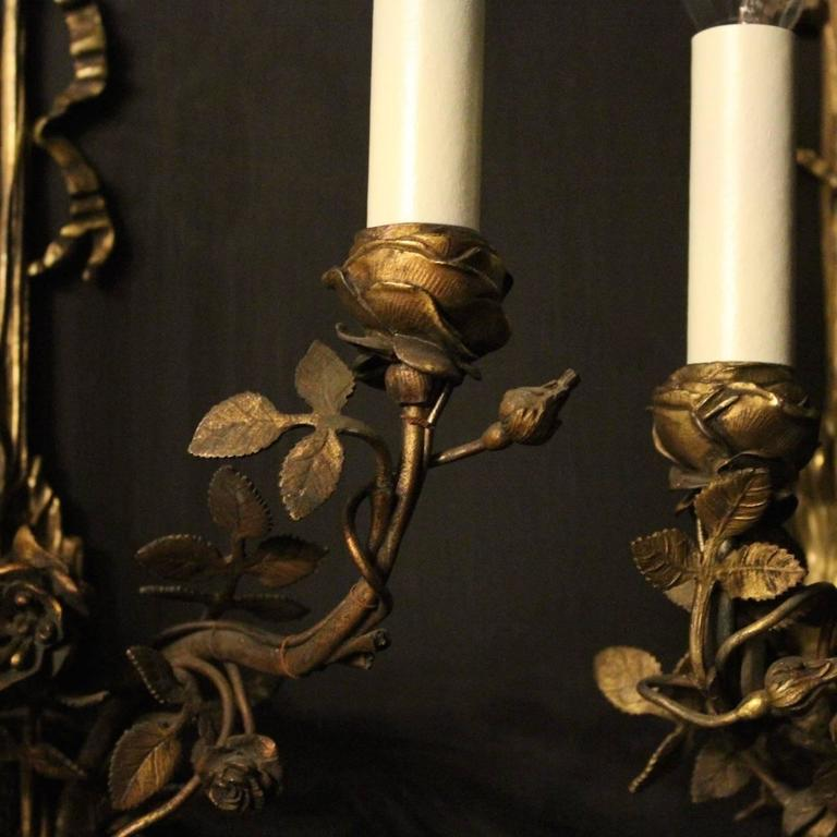 English Pair of Bronze Antique Wall Sconces at 1stdibs
