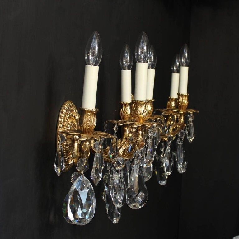 Italian Crystal Wall Lights : Italian Pair of Gilded Bronze and Crystal Wall Lights For Sale at 1stdibs