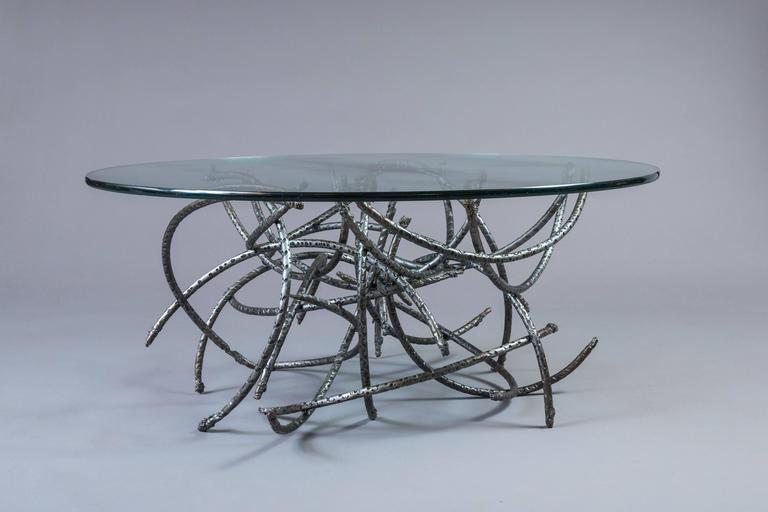 Brushed Medusa Iron Coffee Table For Sale