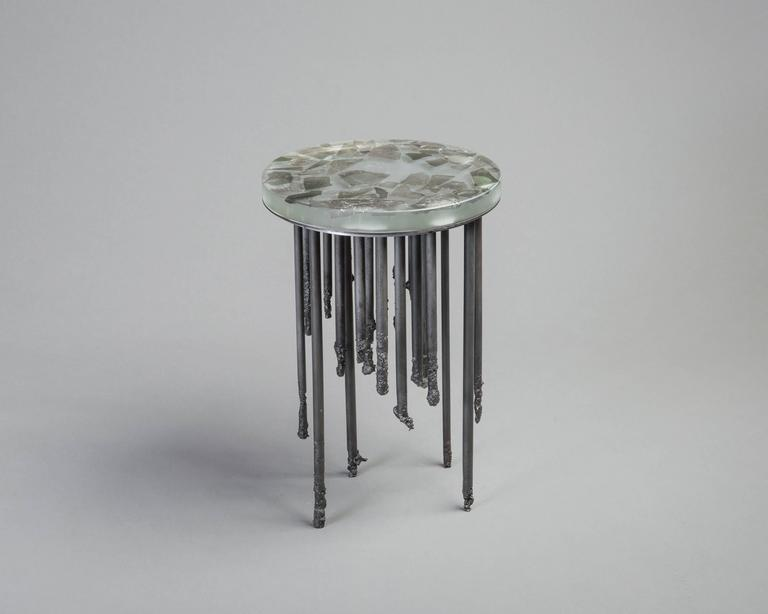 American Stalactite Melted Iron and Cast Glass Side Table For Sale