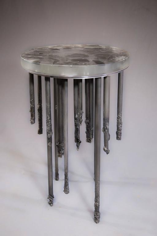 Blackened Stalactite Melted Iron and Cast Glass Side Table For Sale