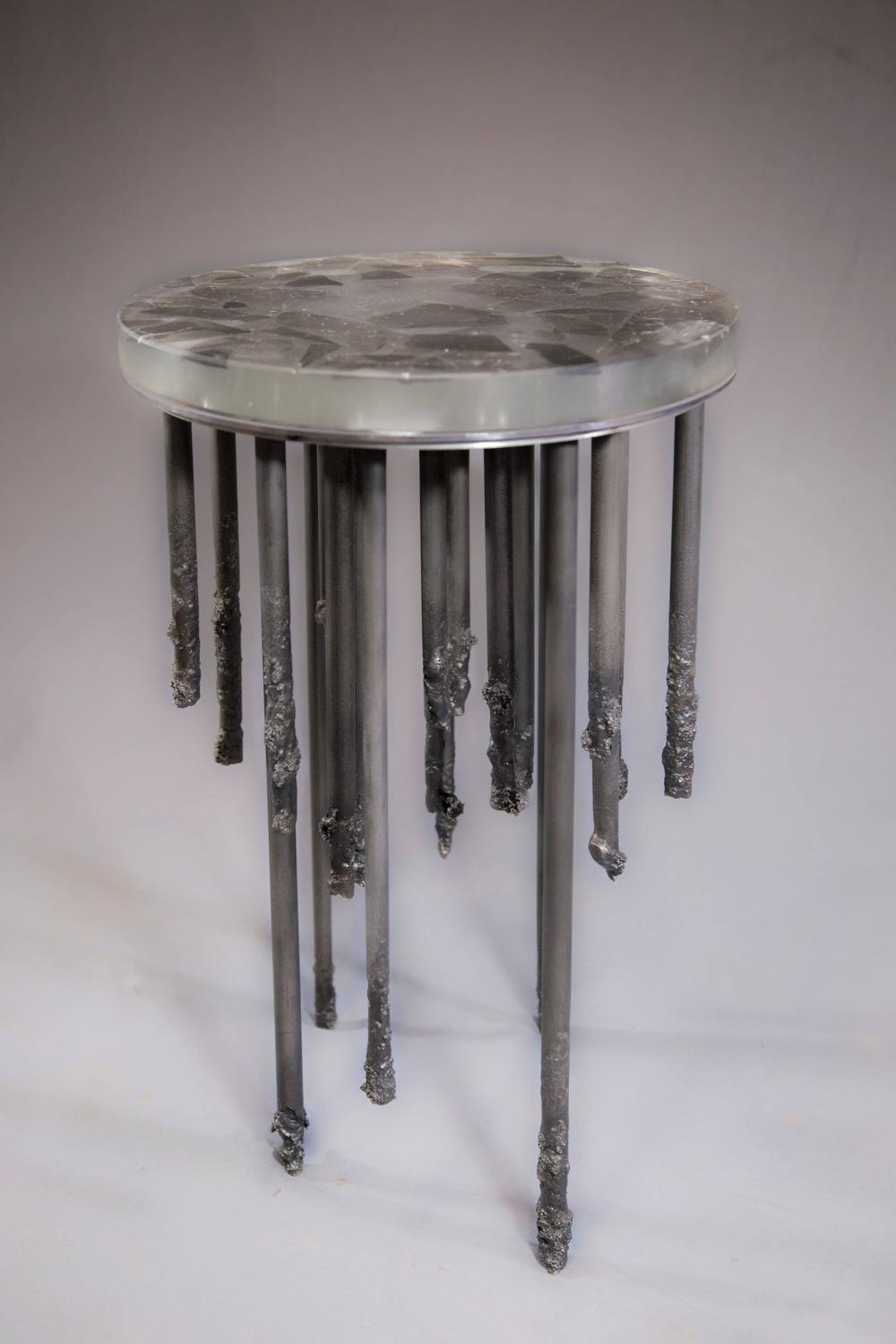 Stalactite melted iron and cast glass side table for sale for Cast iron table with glass top