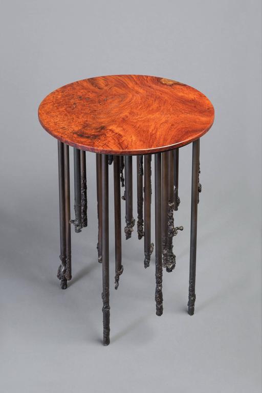 American Stalactite III, Burl Wood and Iron Side Table For Sale