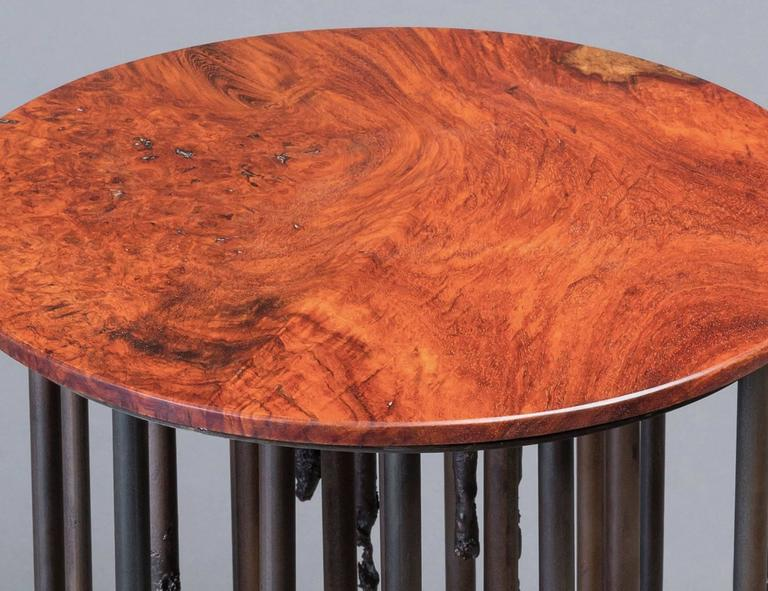 Brutalist Stalactite III, Burl Wood and Iron Side Table For Sale