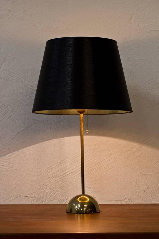 Polished 1960s Scandinavian Brass Table Lamp by Bergboms For Sale