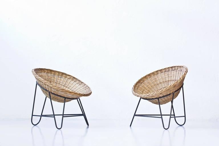 Danish 1950s Rattan Easy Chairs 2