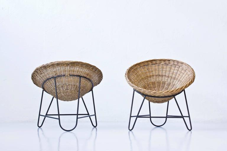 Danish 1950s Rattan Easy Chairs 4