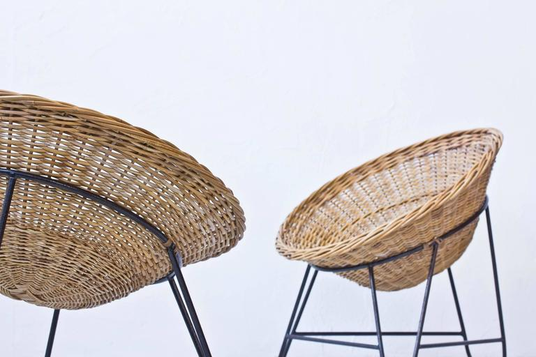 Danish 1950s Rattan Easy Chairs 6