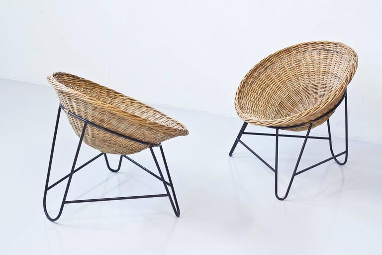 Danish 1950s Rattan Easy Chairs 5