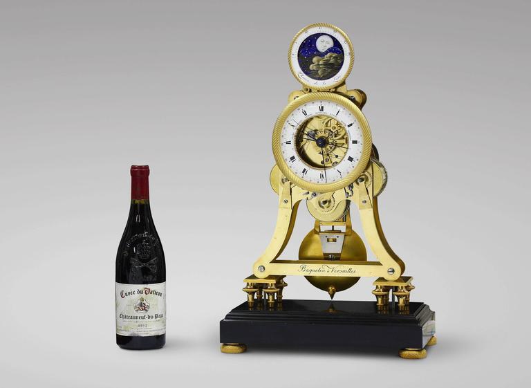 Empire Period Astronomical Skeleton Clock With Quarter
