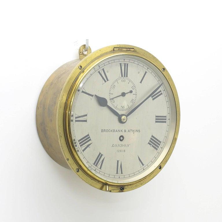 Rare English 1870s Recessed 8 Day Bulkhead Clock For Sale