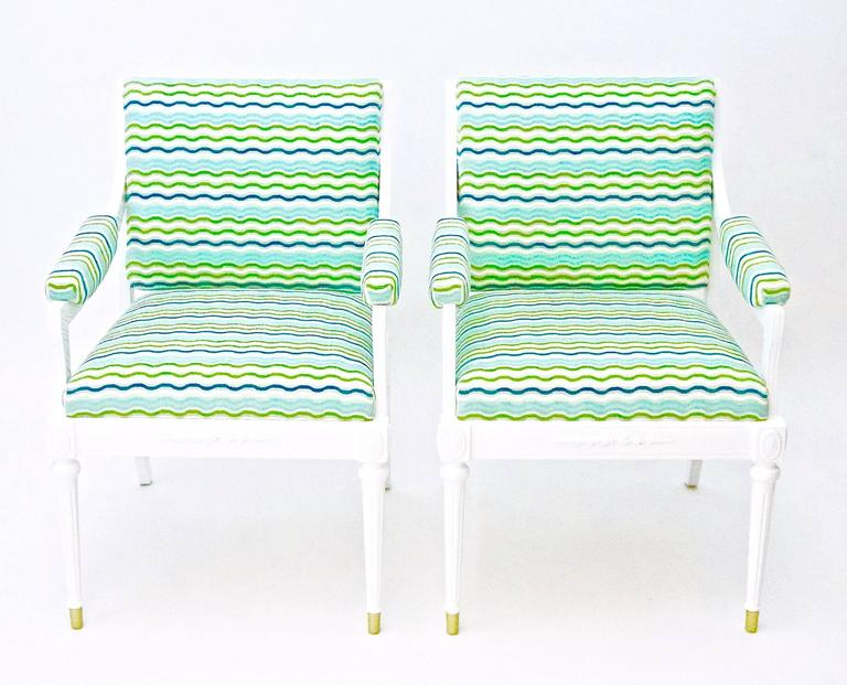 Pair of Vintage Hollywood Regency style Armchairs. Newly upholstered in bright turquoise, aqua, green and white zigzag Velvet