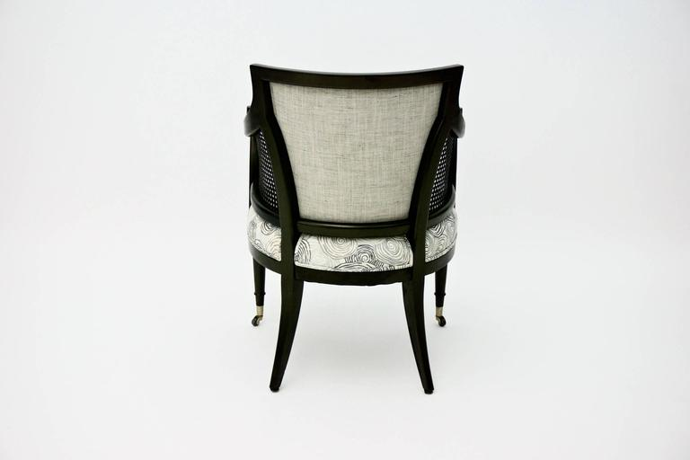 American Mid Century Caned Armchair with Upholstered Seat and Back For Sale