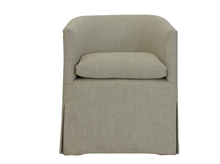Beau Modern Transitional Barrel Dining Chair With Skirted Slipcover And Loose  Cushion For Sale