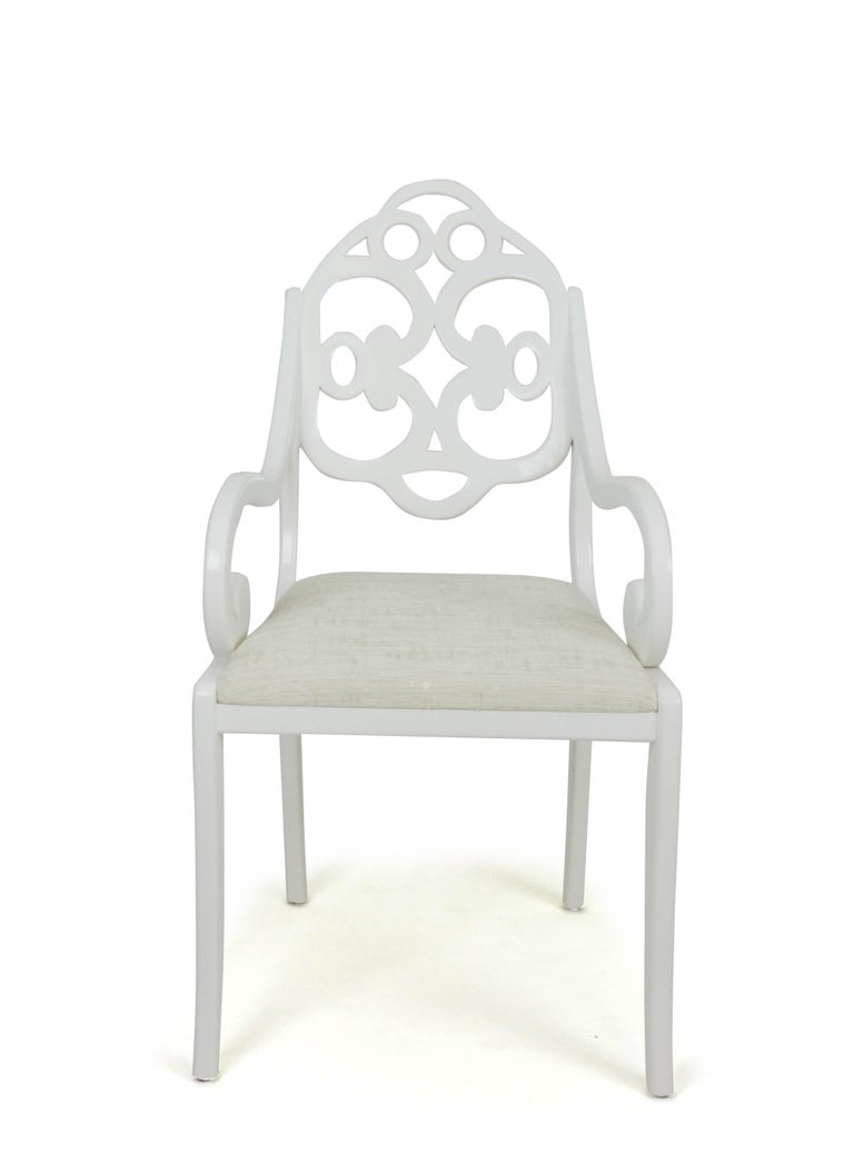 Carved Hand-carved English Regency-inspired American dining chairs For Sale