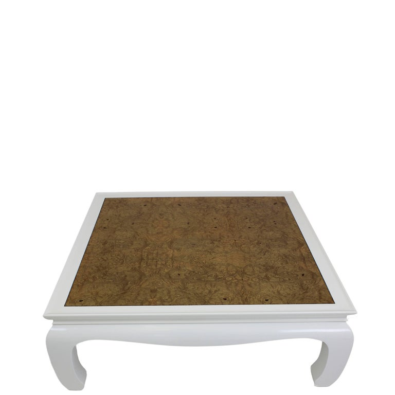 Burled Wood Top Ming Style Square Coffee Table With White Dove Lacquer Measures