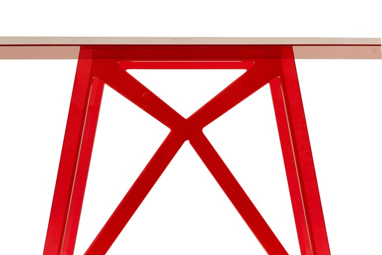 Red Lucite Console Table In New Condition For Sale In Westport, CT