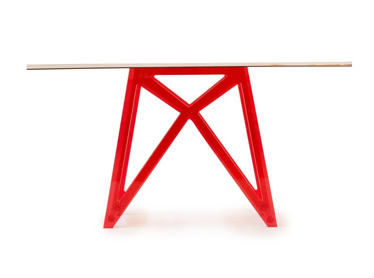 """Handmade one inch Lucite console table in red. Custom available upon request.  Measurements: 34"""" H x 64"""" W x 15"""" D."""
