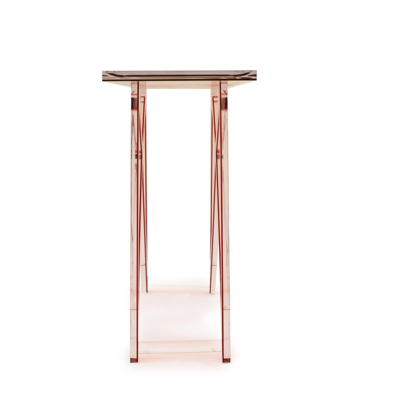 Modern Red Lucite Console Table For Sale