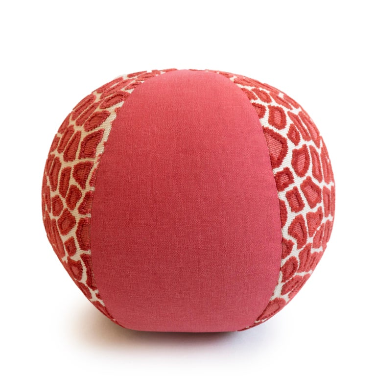 American Round Ball Throw Pillow in Leopard Print Cut Velvet For Sale