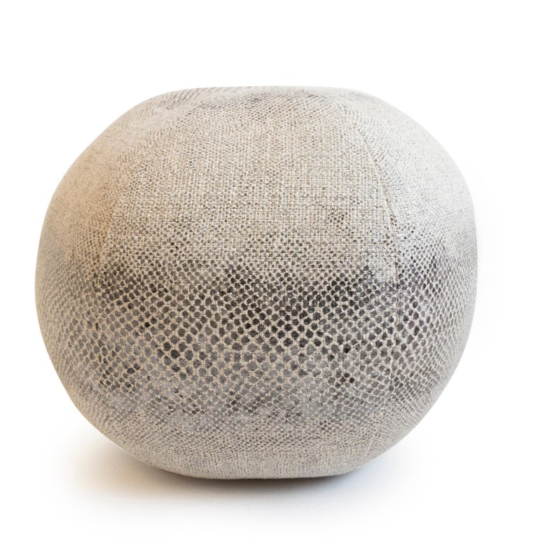 Modern Round Throw Pillow Ball in Snake Skin Linen For Sale
