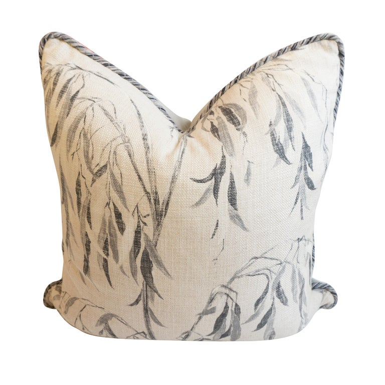 American Square Pillow with Linen Willow Leaf Pattern For Sale