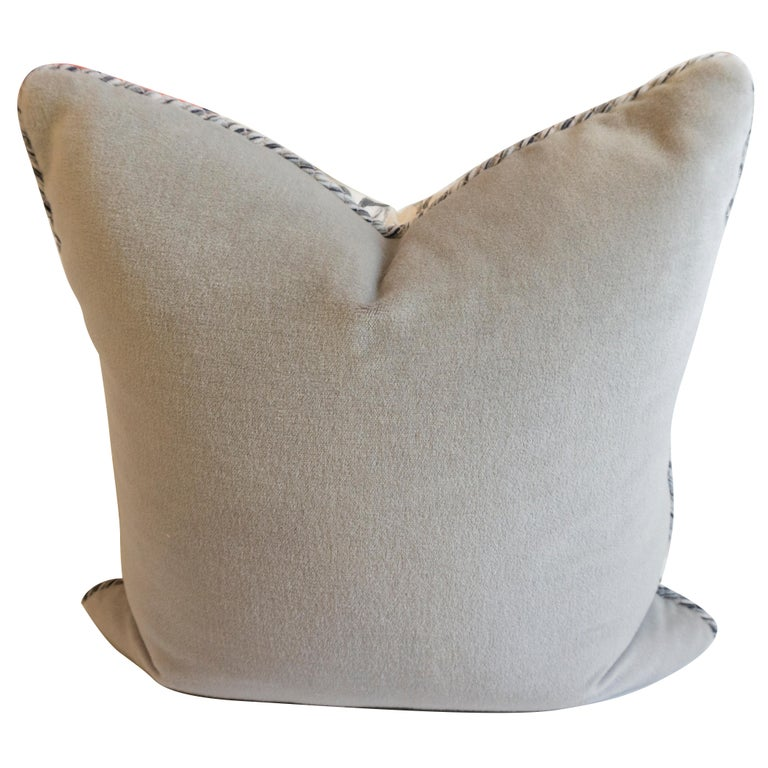 Square Pillow with Linen Willow Leaf Pattern In Excellent Condition For Sale In Westport, CT