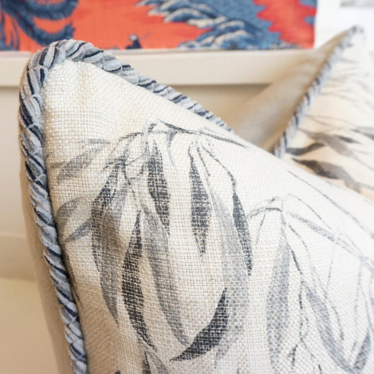 Contemporary Square Pillow with Linen Willow Leaf Pattern For Sale