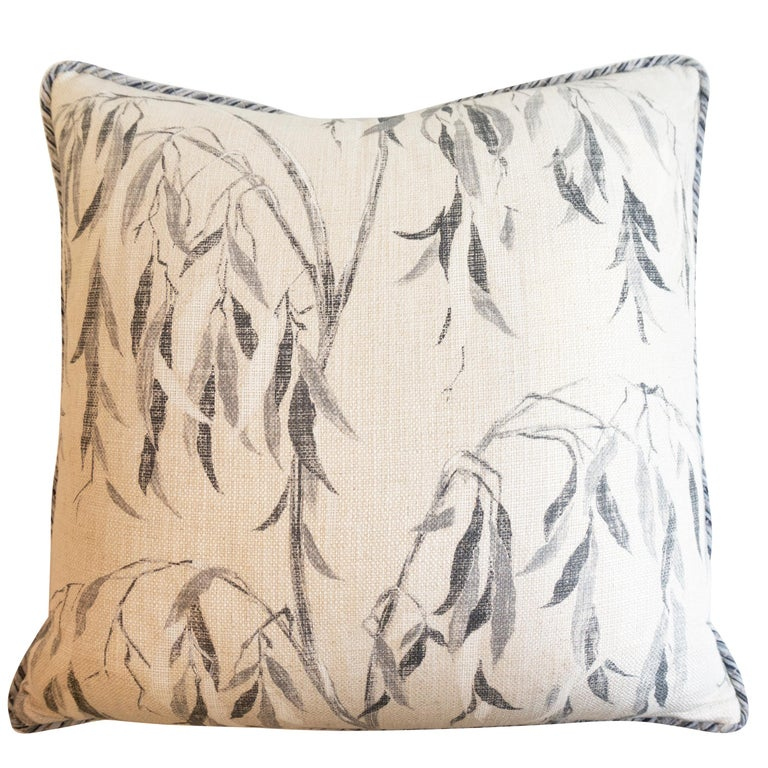 Square Pillow with Linen Willow Leaf Pattern For Sale