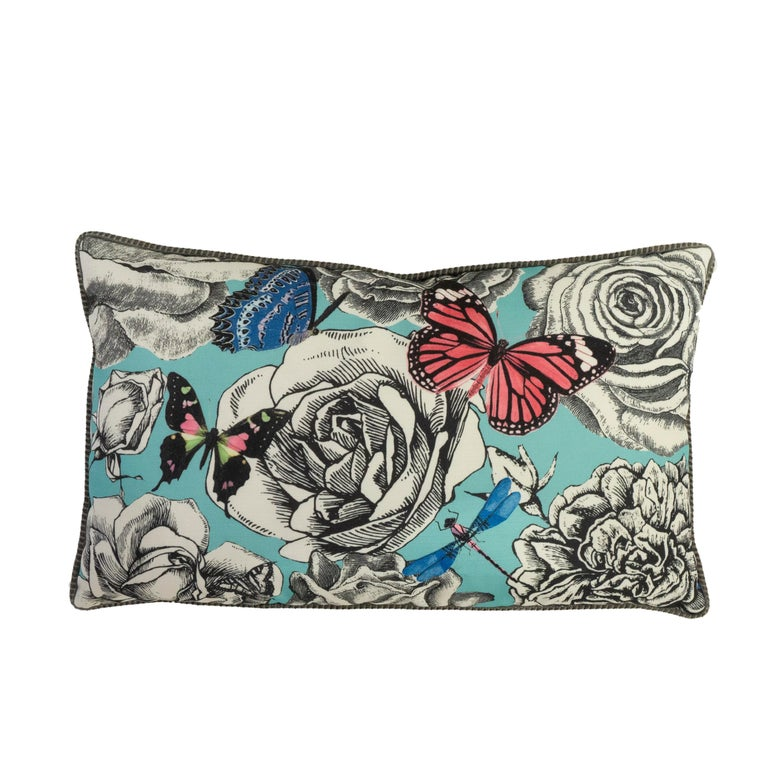 American Lumbar Throw Pillows in Blue Butterfly and Rose Pattern For Sale