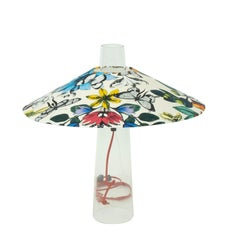 Industrial Cord Lamp with Tropical Print Shade