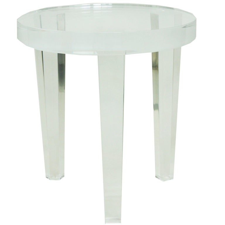 Small Lucite Three Leg Round Side Table For
