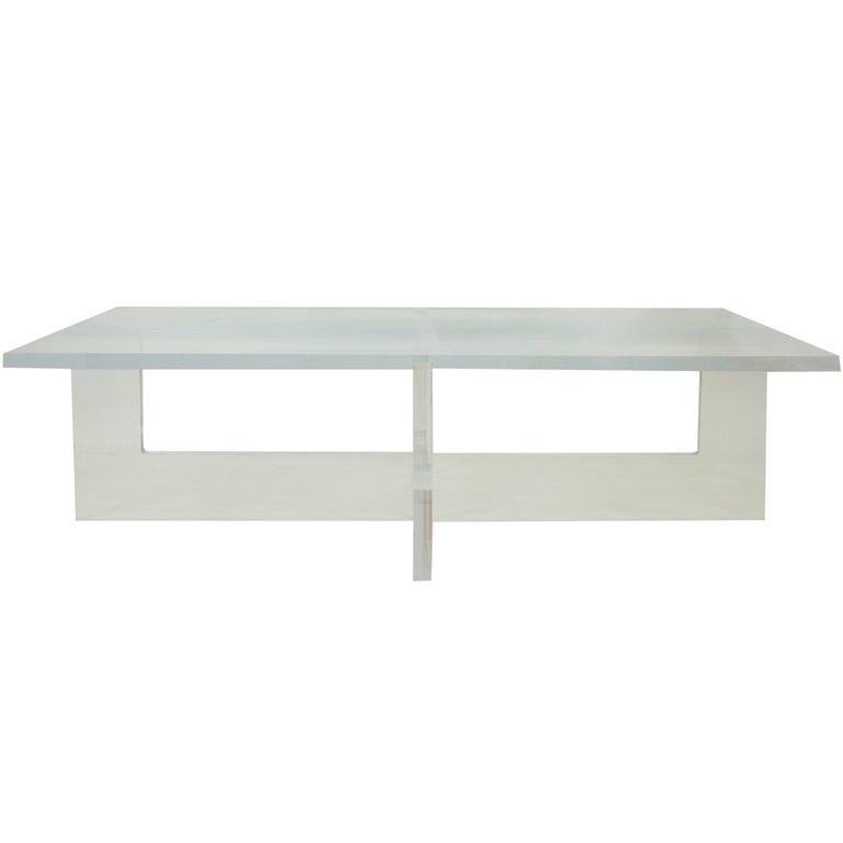 Large Rectangle Lucite Coffee Table