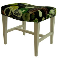Small Bench in Black Velvet with Fruit Pattern