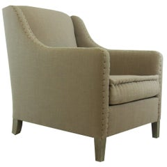 Upholstered Club Chair with Nailheads, Customizable