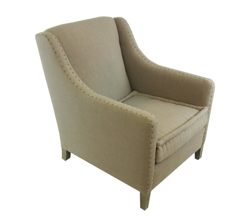 Modern Upholstered Club Chair with Nailheads, Customizable For Sale