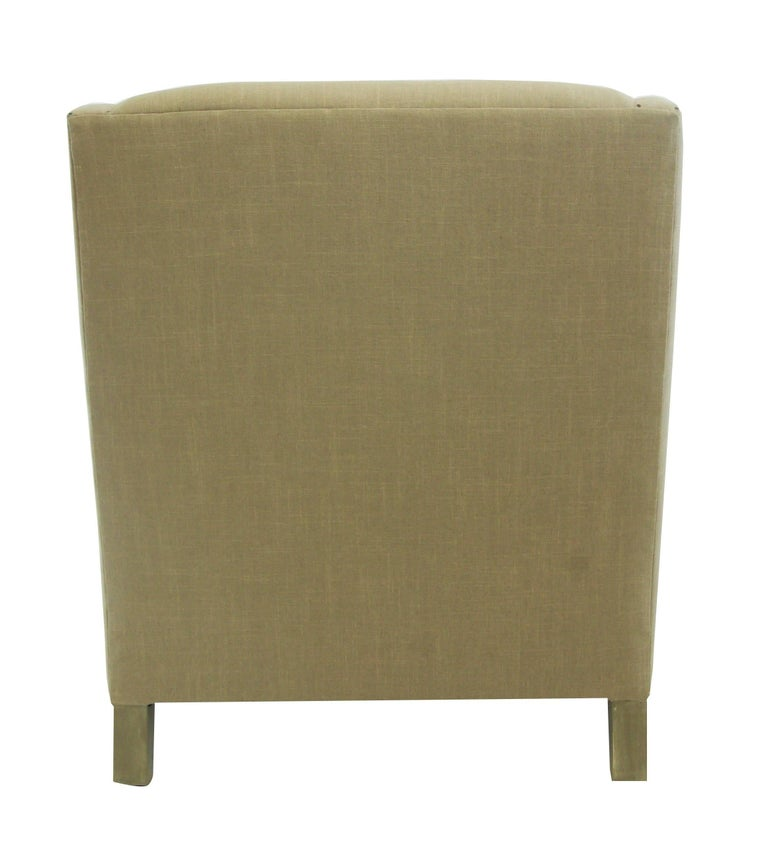 American Upholstered Club Chair with Nailheads, Customizable For Sale