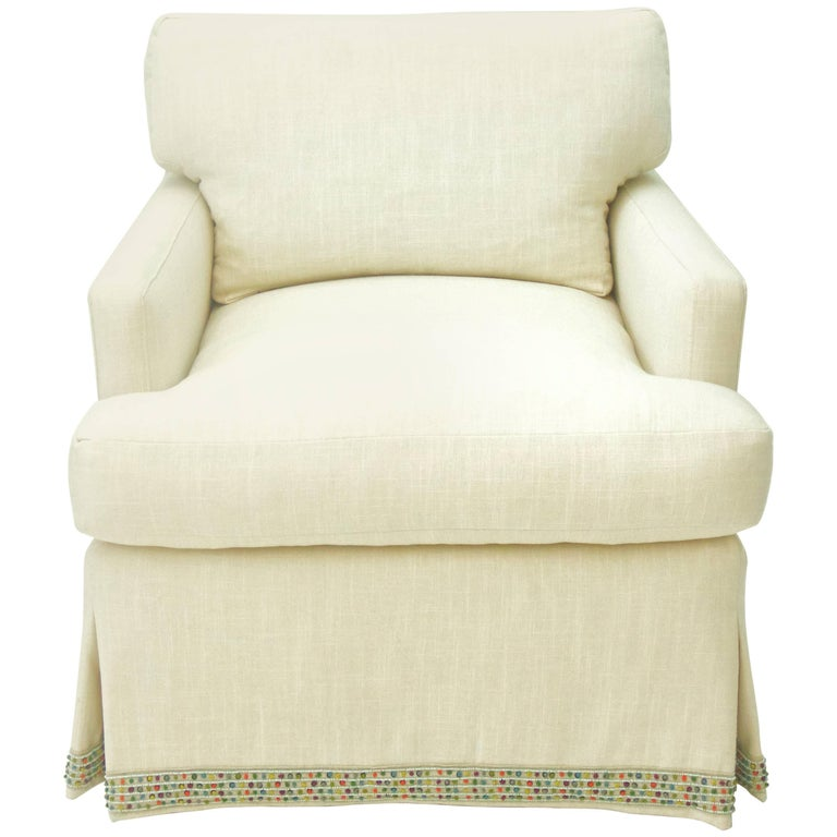 Skirted Upholstered Club Chair For Sale