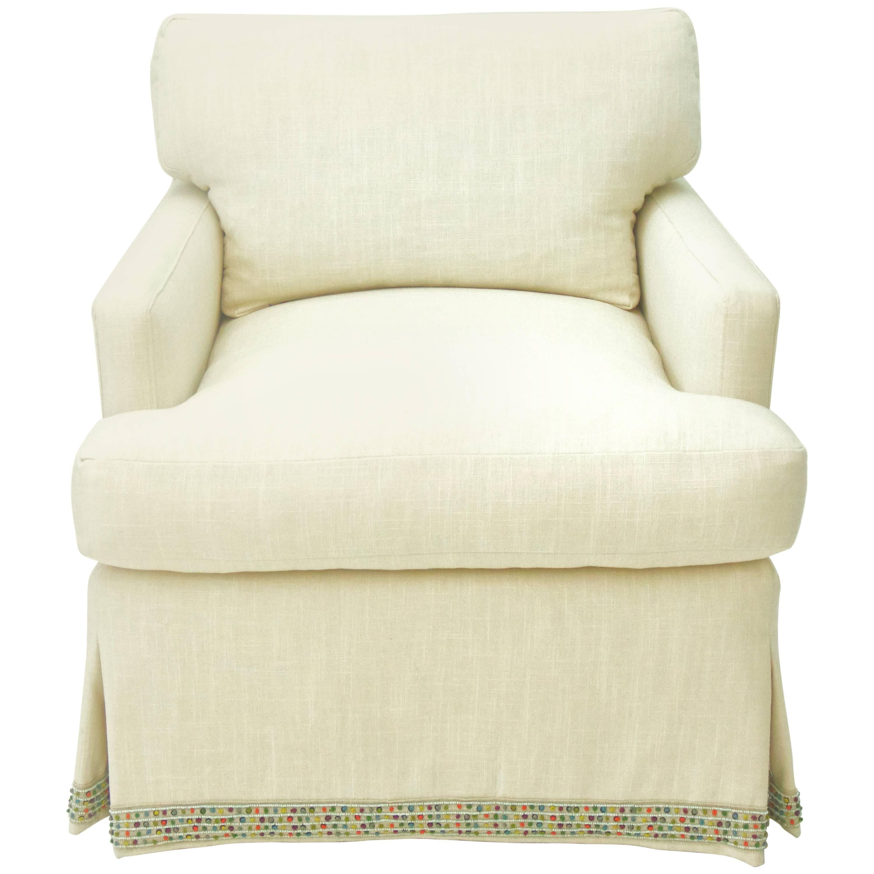Attirant Skirted Upholstered Club Chair For Sale