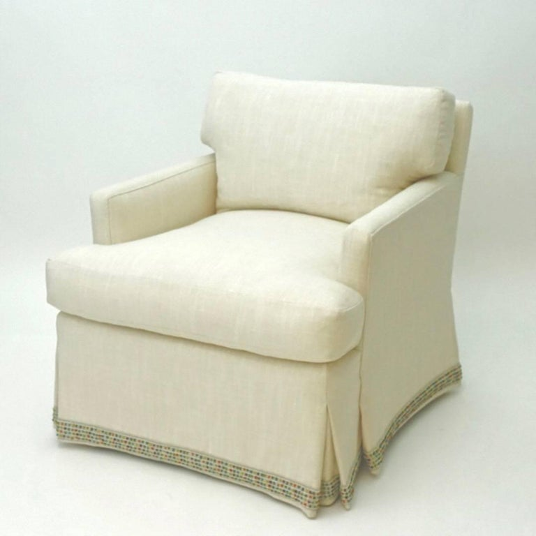 Our Madison chair features a t-cushion and loose pillow back for additional comfort. The chair is framed in maple and birch.   Price does not include fabric. Fabric shown is for image only.  Measurements: 29
