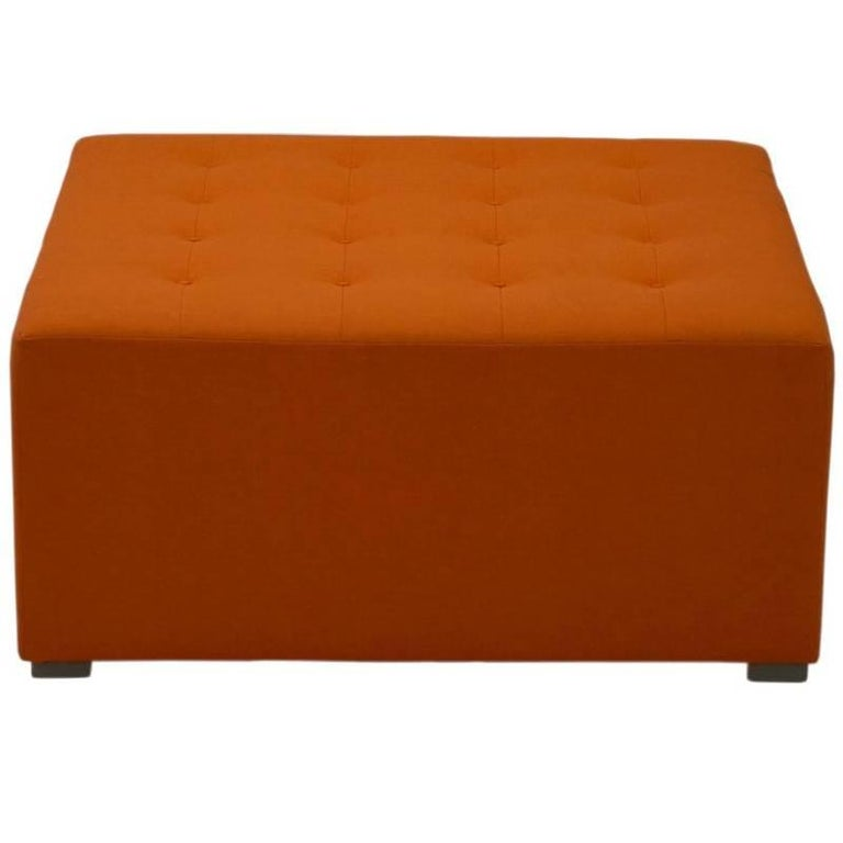 Large Square Button Tufted Ottoman, Custom For Sale